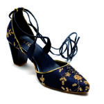 PAIO_Emnbroidered tie-up block heels